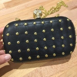 Handbags - Skull hand bag or clutch, gold hardware
